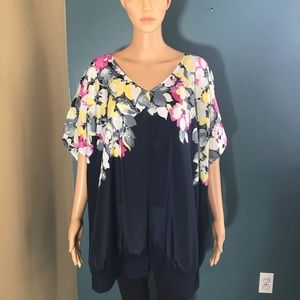 Lane Bryant floral print top cold shoulder 26 / 28